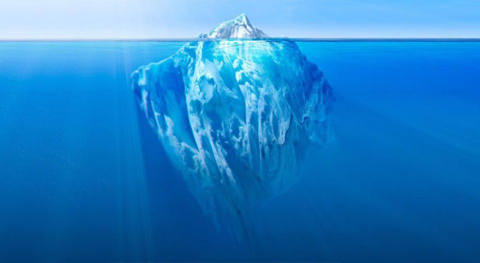 Iceberg representando la incontinencia urinaria
