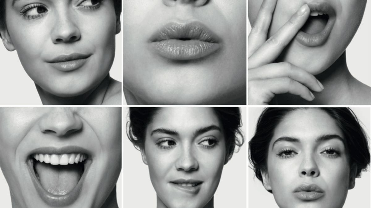 Varias caras de mujeres con labios bonitos